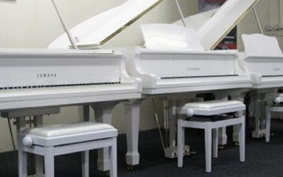 White Yamaha Grand Pianos